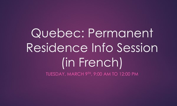 Permanent Residence Info Session (in French)