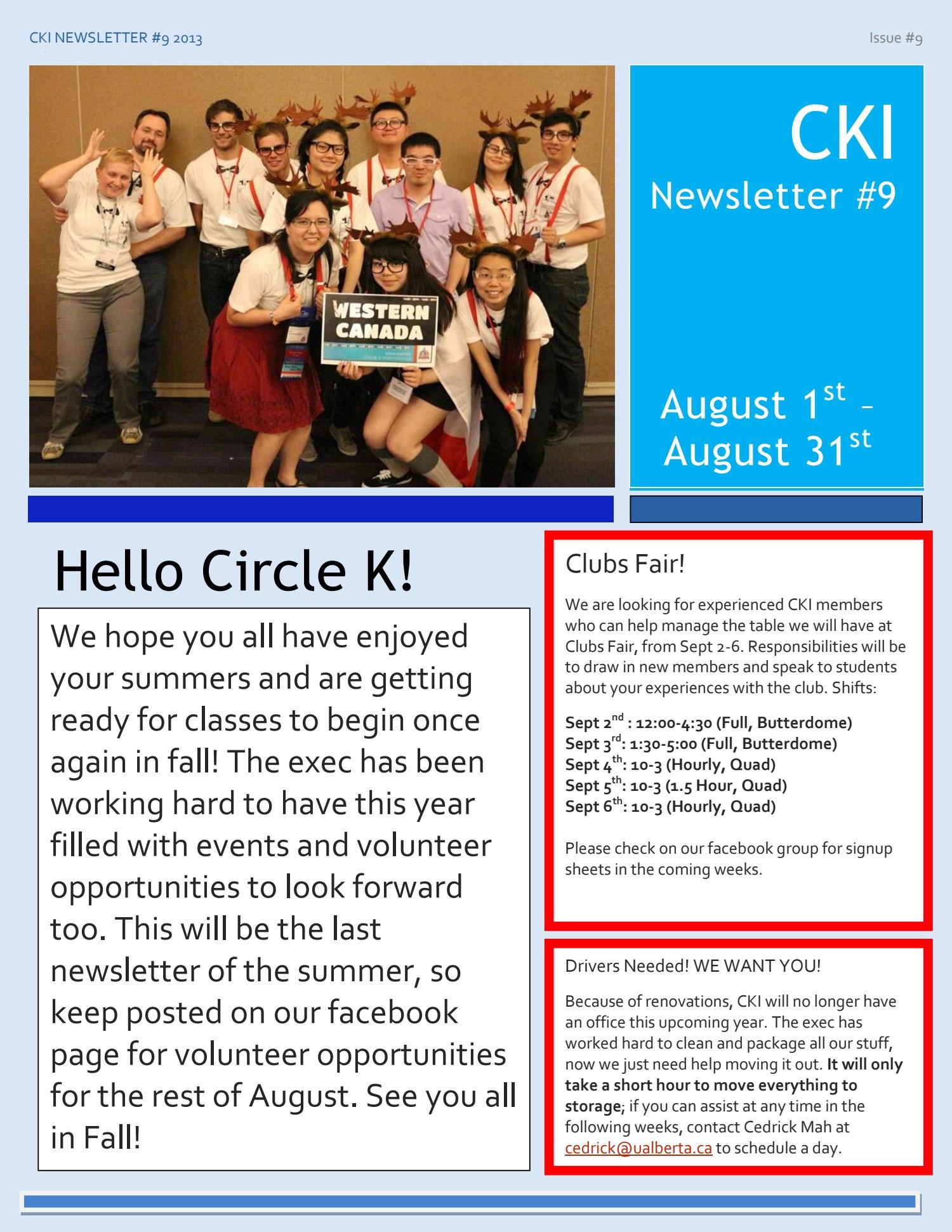 CKI Newsletter - August - BearsDen