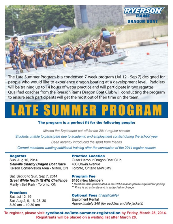 Late Summer Dragonboat Program - ConnectRU
